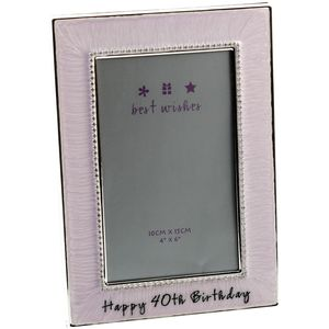 "Happy 40th Birthday Pink Photo Frame 4x6"""