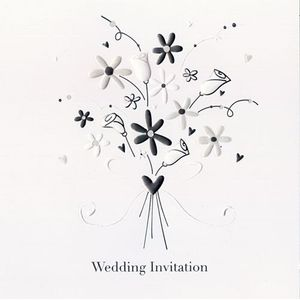 Wedding Evening Invitations Floral Bouquet Design x5