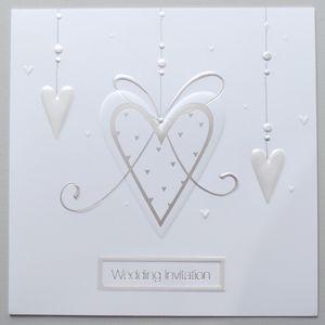 Wedding Invitations Silver Hearts Design