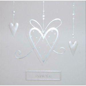 Wedding Thank You Cards Silver Hearts Design