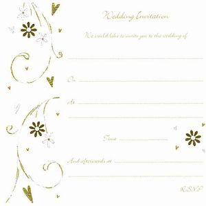Wedding Invitations Floral Hearts Design