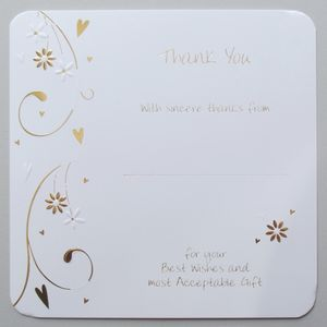 Wedding Thank You Cards Floral Hearts Design