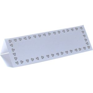 Place Cards - White with Silver Multi Hearts Design x12