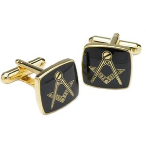 Masonic Compass & Square Cufflinks - Black