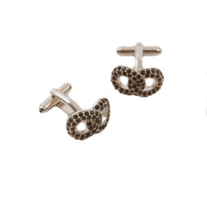 Entwined Dress Cufflinks with Black Diamante Crystal
