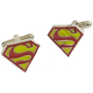 Superman Logo Cufflinks - Yellow & Red