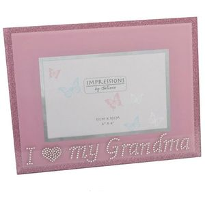 "Impressions Pink Glass Photo Frame 6x4"" - I Love my Grandma"