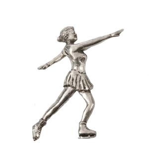 Figure Skater Pewter Tie Pin / Lapel badge
