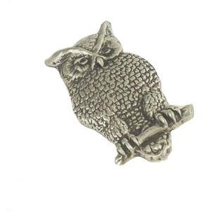 Barn Owl English Pewter Brooch