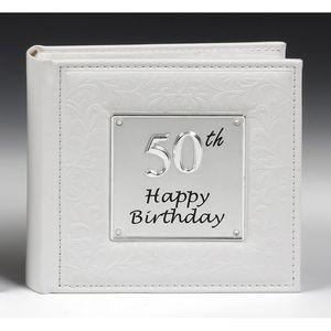 "Shudehill 50th Happy Birthday Deluxe Photo Album Holds 80 6"" x 4"" Prints"