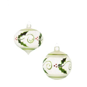 Glass Christmas Tree Baubles - Holly Pattern Pack of 2
