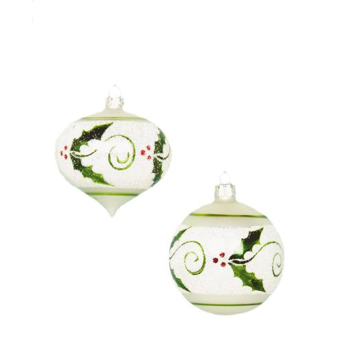 Christmas Holiday Holly Pattern Glass Tree Baubles x2
