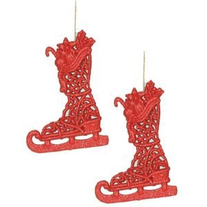 Christmas Tree Hanging Decorations - Red Glitter Ice Skate Pack of 2 Assorted