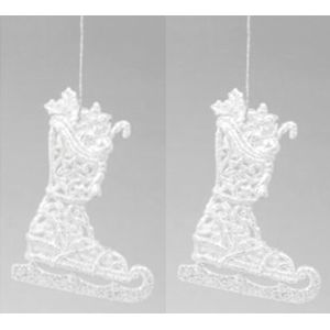 Christmas Tree Hanging Decorations - Silver Glitter Ice Skate Pack of 2 Assorted