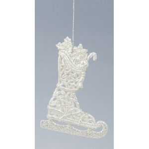 Skating Boots silver sparkle glitter tree decoration X2