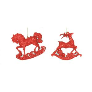 Christmas Tree Hanging Decorations - Red Rocking Horse & Deer Pack of 2 Asstd