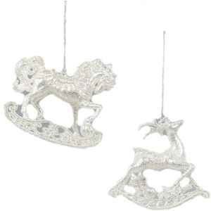 Christmas Tree Hanging Decorations - Silver Rocking Horse & Deer Pack of 2 Asstd
