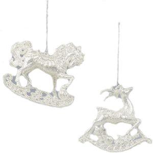 Rocking Horse & Deer Xmas Tree Decorations - silver