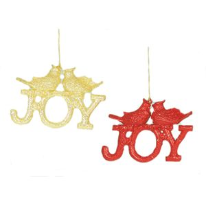 Joy with bird Tree Decorations Set of 2