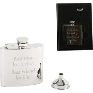 Harvey Makin 4oz Stainless Steel Hip Flask - Wedding Party (Best Man)