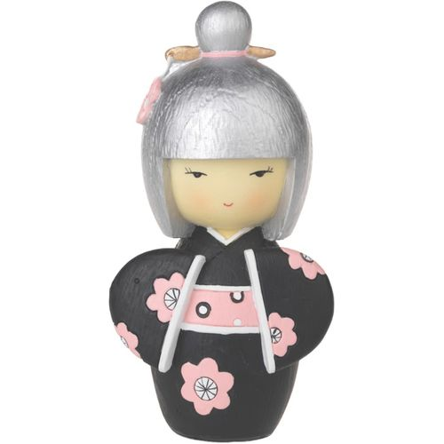 Hina Doll Figurine in Black Kimono