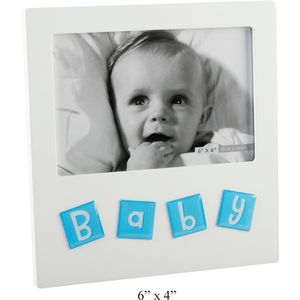 Baby Boy Tile Letters Photo Frame 6x4""