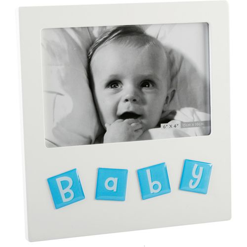"""Juliana Impressions Tile Letters Photo Frame 6"""" x 4"""" - Baby Boy"""