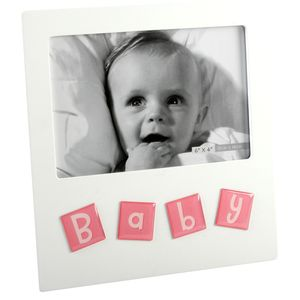 "Tile Letters Photo Frame 6x4"" - Baby (Pink)"