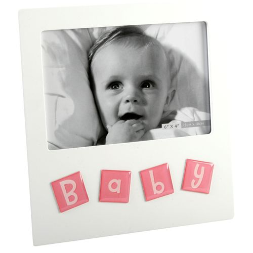 """Juliana Impressions Tile Letters Photo Frame 6"""" x 4"""" - Baby (Pink)"""