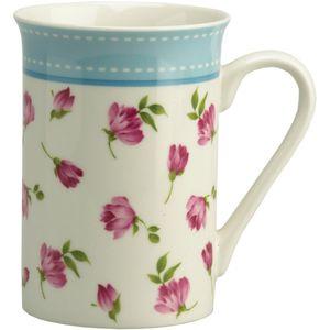 Gleneagles Fine China Mug - Rose Buds (Blue Band)