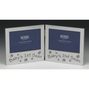 "Hinged Double Photo Frame 5"" x 3"" - Babys 1st Scan - Babys 2nd Scan"