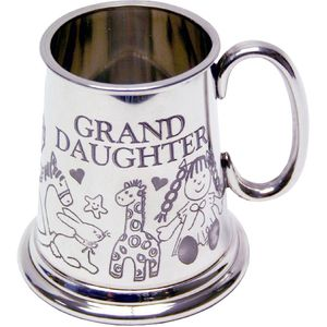 Celebrations Pewter Tankard Baby Mug - Grand Daughter