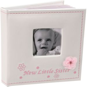 "Baby Photo Album Holds 50 6"" x 4"" Prints - New Little Sister"