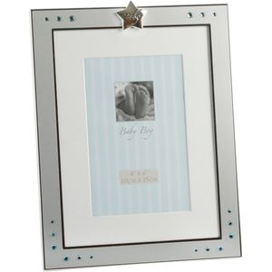 Baby Boy Star & Blue Crystals Photo Frame 4x6""