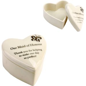 Amore Wedding Party Trinket Box - Our Maid of Honour Keepsake Gift