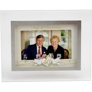 "Juliana Reflections Sentiment Photo Frame 6"" x 4"" - Happy 40th Anniversary"