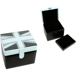 Harvey Makin Watch Box - Black & White Union Jack Design