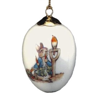 Peter Rabbit with Spade Porcelain Egg Ornament