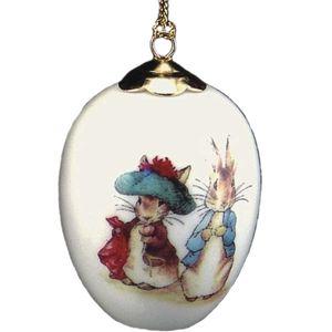 Reutter Porcelain Beatrix Potter Peter Rabbit Hanging Egg Peter & Benjamin Bunny