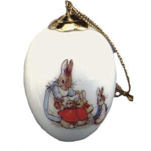 Mrs Rabbit & Bunnies Porcelain Egg Ornament