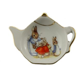 Reutter Porcelain Beatrix Potter Peter Rabbit Tea Bag Tidy: Mrs Rabbit & Bunnies