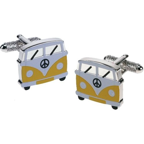 Yellow VW Camper Van Novelty  Cufflinks