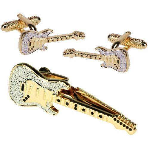 Guitar Tie Bar and Novelty Cufflinks Set