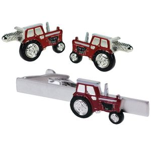 Red Tractor Cufflinks & Tie Bar Gift Set