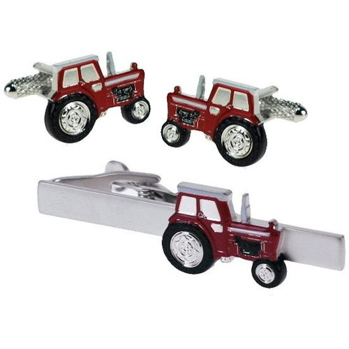 Red Tractor Tie Bar and Novelty Cufflinks Set
