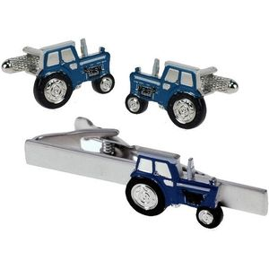 Blue Tractor Cufflinks & Tie Bar Gift Set