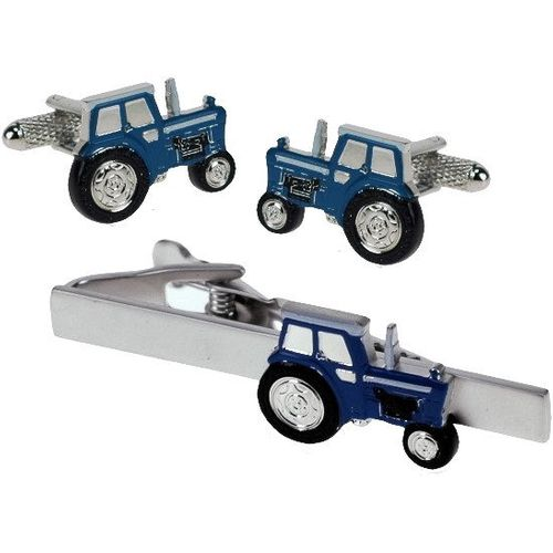 Blue Tractor Tie Bar and Novelty Cufflinks Set