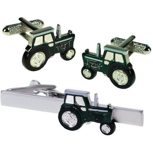 Green Tractor Tie Bar and Novelty Cufflinks Set