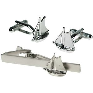 Yacht Cufflinks & Tie Bar Gift Set
