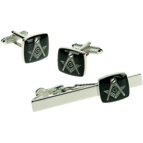 "Black Masonic ""G"" Tie Bar and Novelty Cufflinks Set"